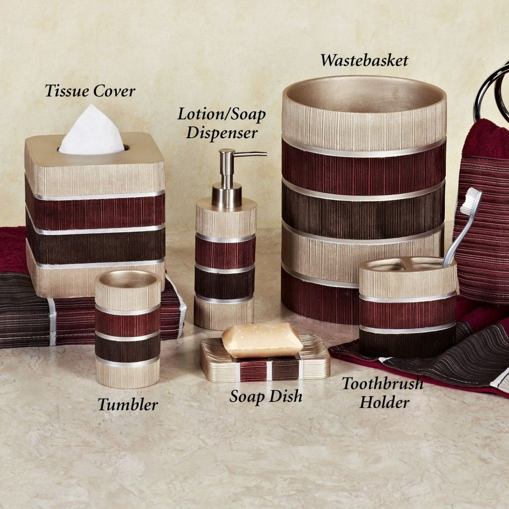glamorous red bathroom accessories sets with red, brown, and cream