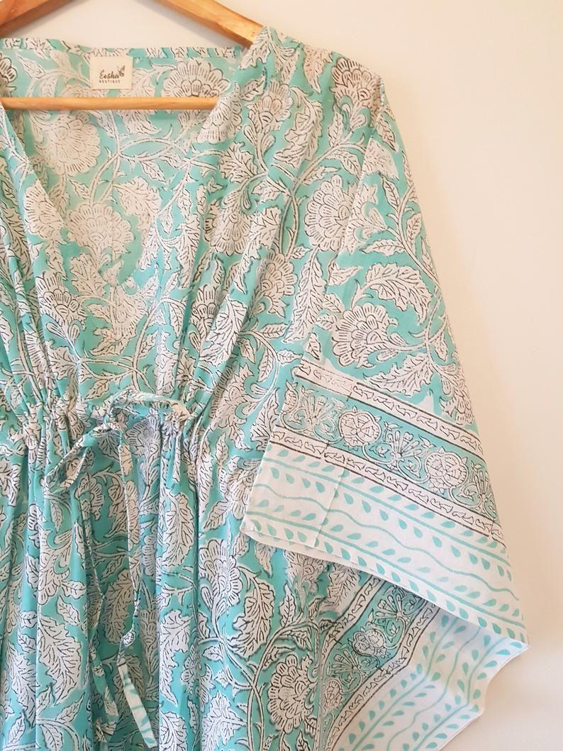 Indian Hand Block print Long Kaftan, maternity gown, baby shower gift,  bridesmaid gift kimono beach,beach cover up, cotton kaftan | Kaftan  designs, Long kaftan, One piece dress
