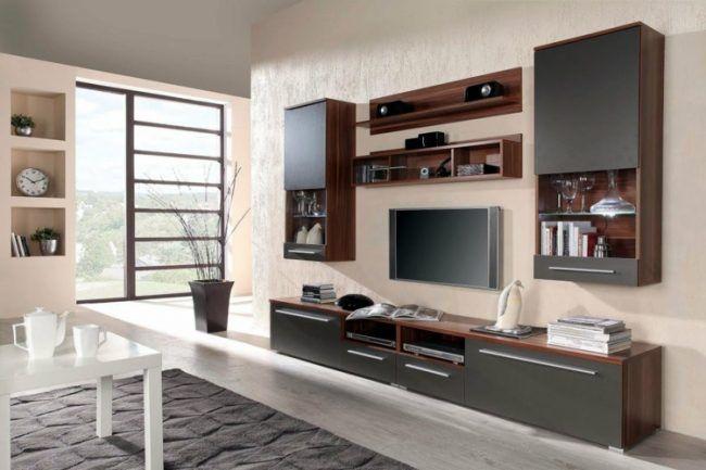 Wohnwand Braun Grau ~ Fernseher an wand wohnwand idee grau braun modern tv bracket