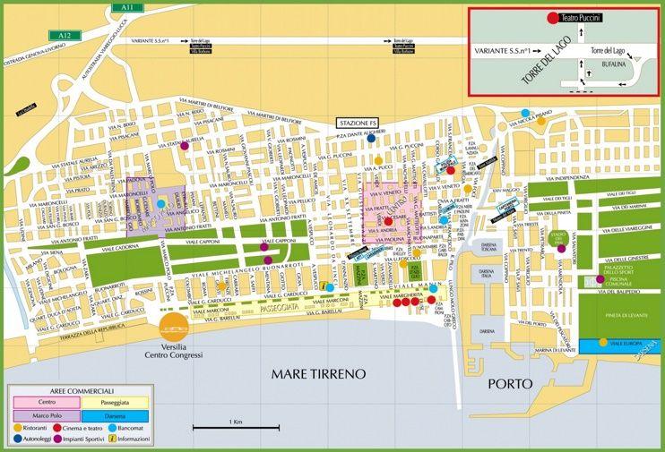 Tourist map of Viareggio city centre Maps Pinterest Tourist