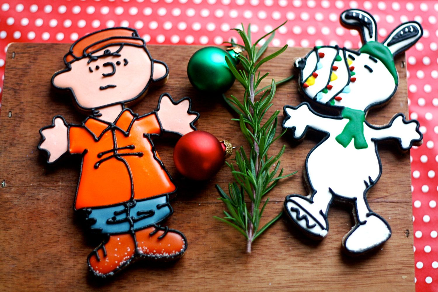 Charlie Brown Christmas Inspired Decorated Gingerbread Cookies