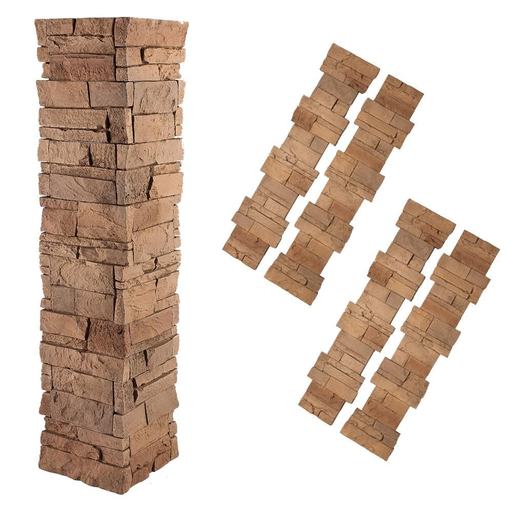 GenStone Stacked Stone 1-1/2 in. x 11-1/4 in. Desert Sunrise ...
