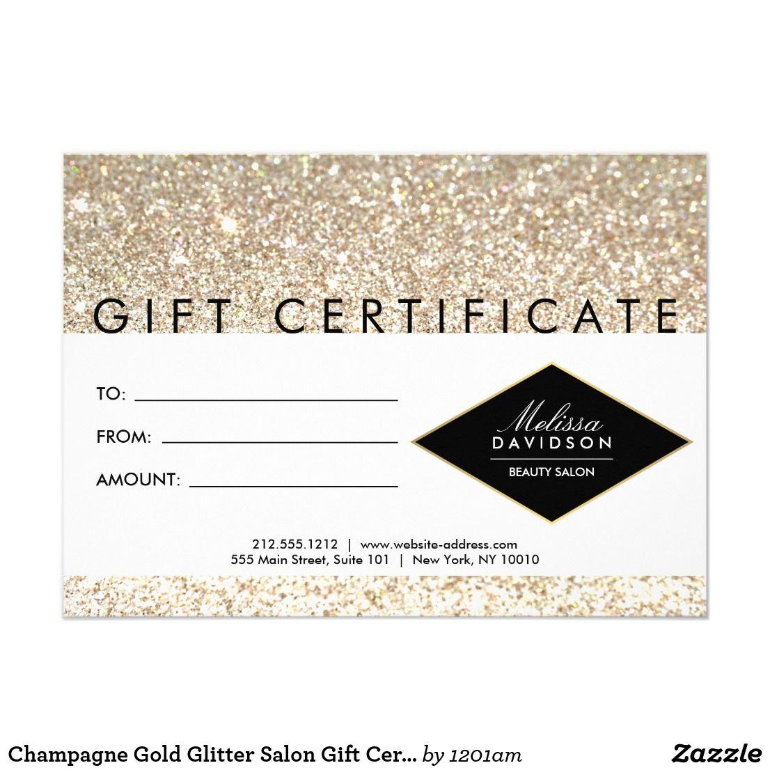 Champagne Gold Glitter Salon Gift Certificate  Zazzle.ca  Salon