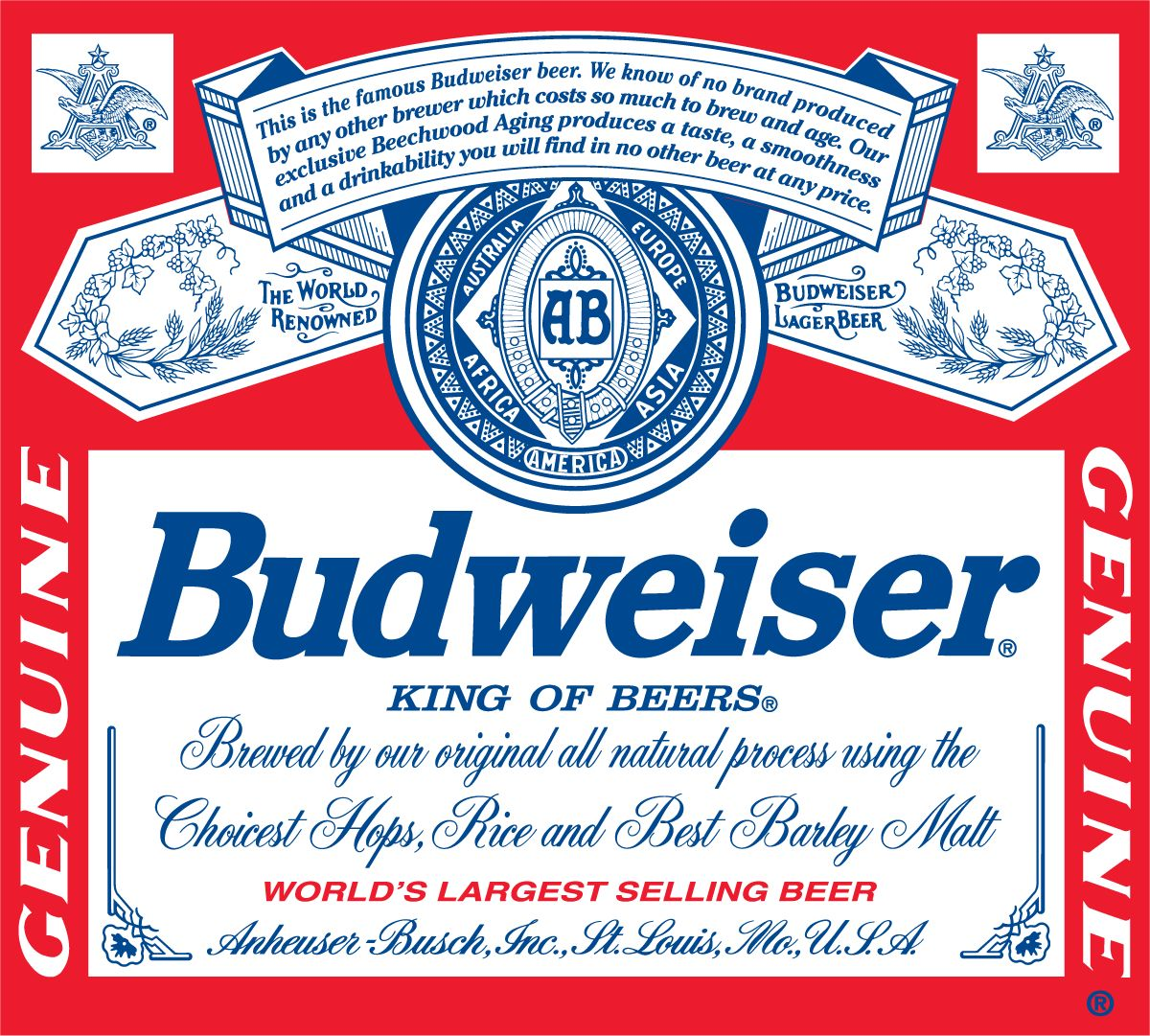 This is the famous budweiser beer we know of no other brand produced by any other brewer that - Budweiser beer pictures ...