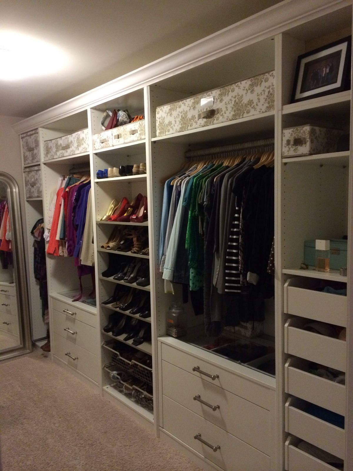 ikea pax in the master closet look at the crown molding. Black Bedroom Furniture Sets. Home Design Ideas