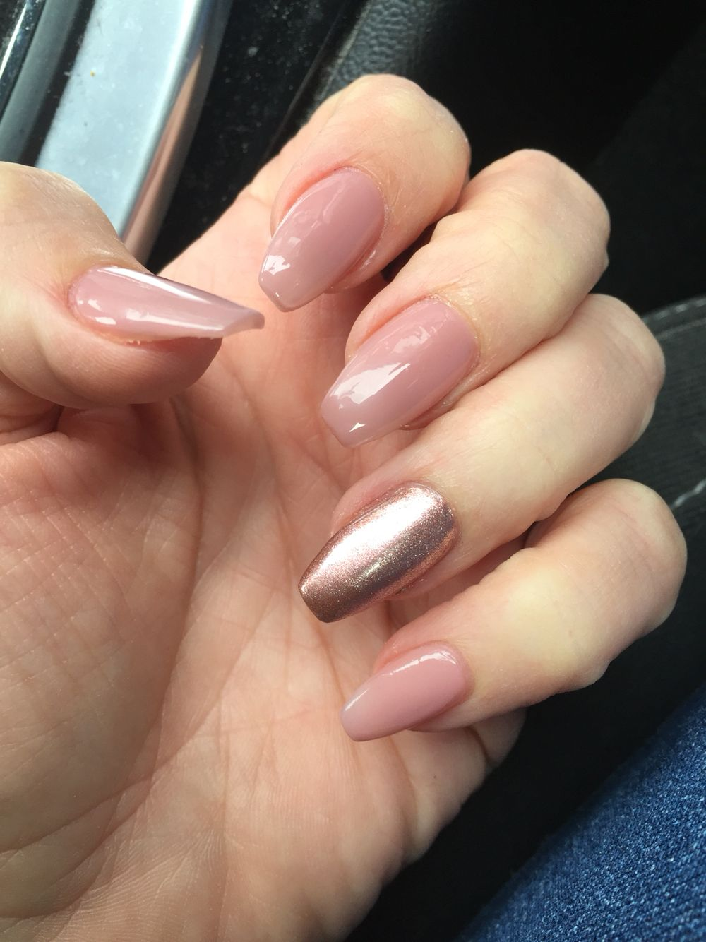 New coffin tip nails rose gold and pink nude love it | Nail ideas ...