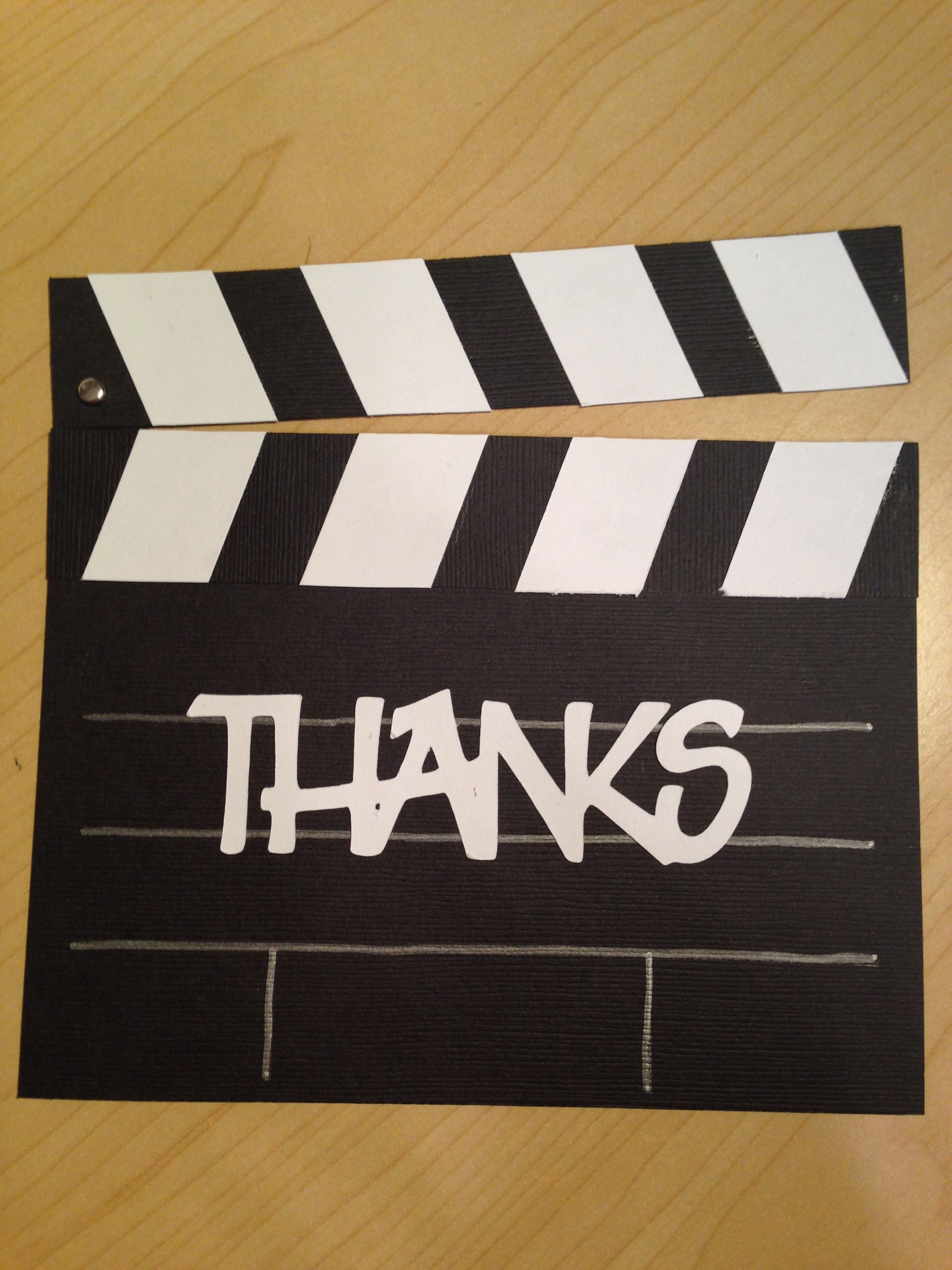 a movie themed clapper board thank you card
