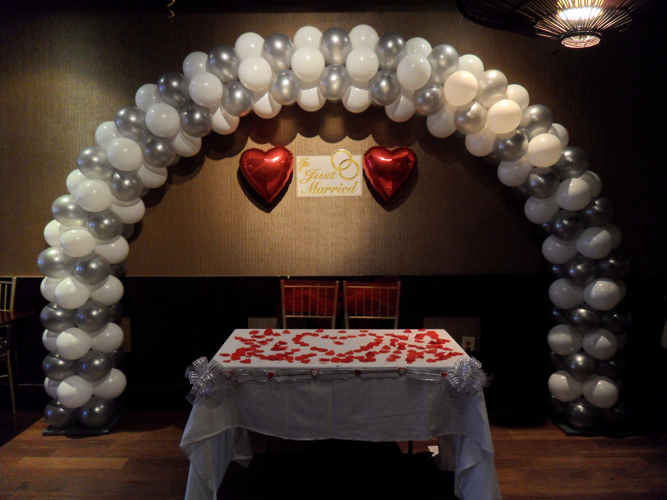 Wedding Balloon Arch Using Silver And White Balloons Please Visit