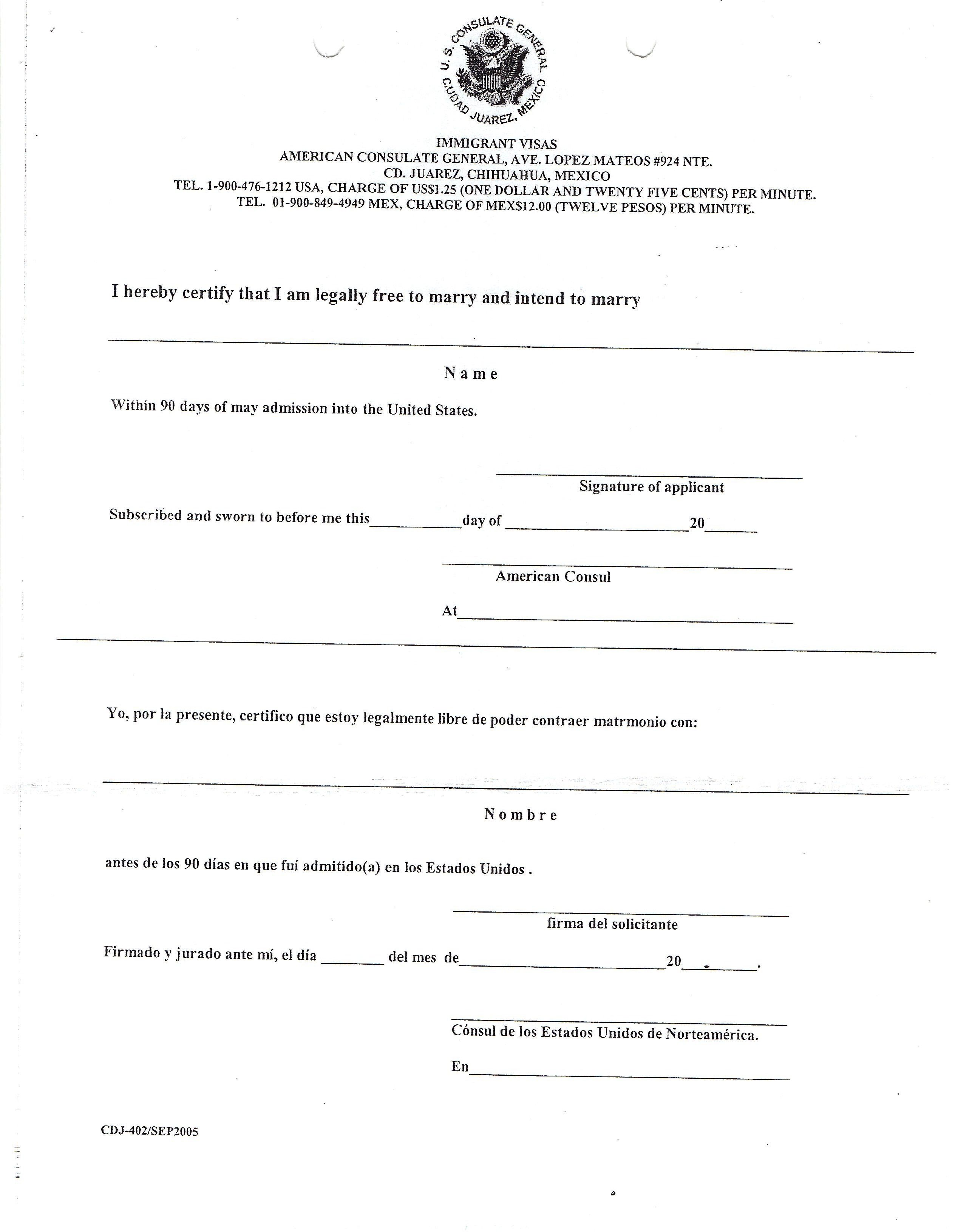 Resources Step Immigration Forms Sample Intent Marry Letter  Home