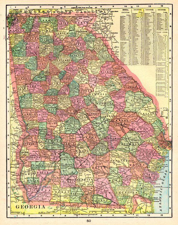 1903 Antique Georgia Map Of Georgia State Map Print Gallery Wall Art