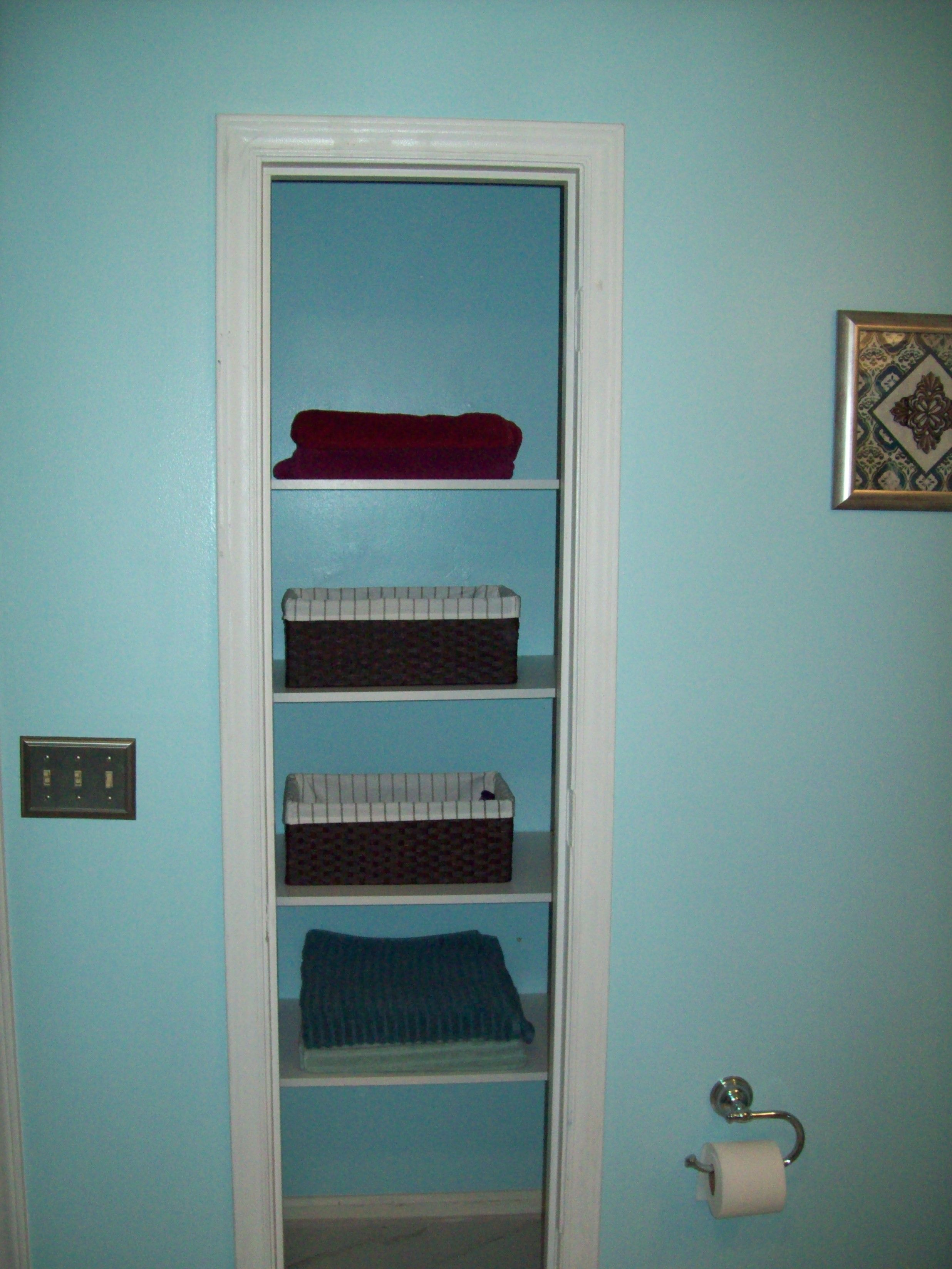 After: Removed the closet door and put new shelving in. | Bathroom ...