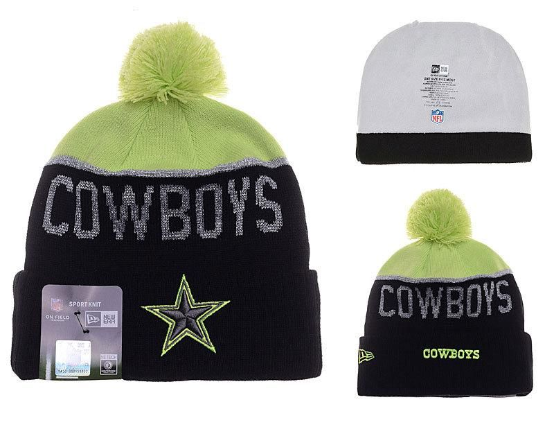 Mens   Womens Dallas Cowboys New Era NFL Fashion Sports On-Field Knit  Beanie Hat With Pom Pom - Green   Black 24295c75e