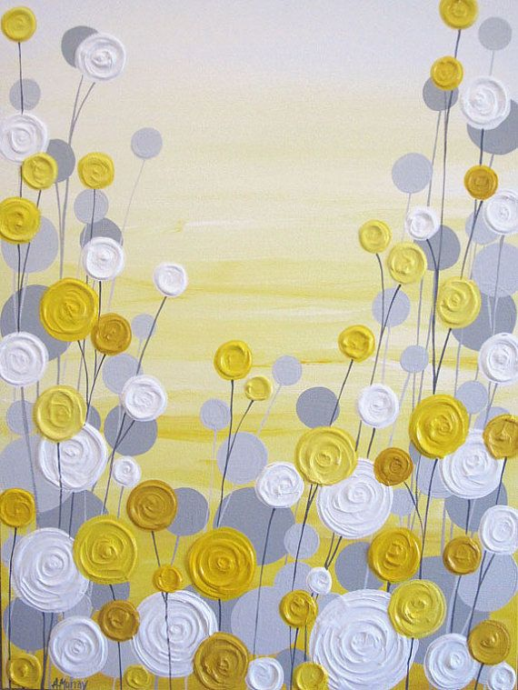 Yellow and grey art textured acrylic painting on canvas for Yellow and gray paint