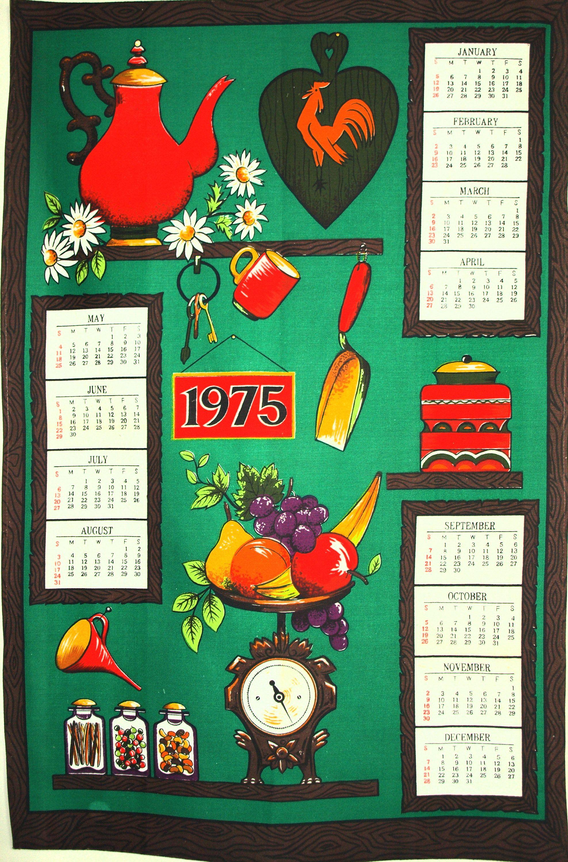 Retro Vintage Calendar 1975 Tea Towel Birthday