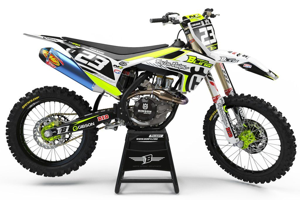 Full Graphics Kit For Husqvarna Light Bright Fluo Design Graphic Kit Husqvarna Custom Dirt Bike