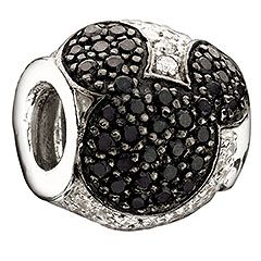 Disney - Jeweled Mickey - Black And Clear Cz Bead