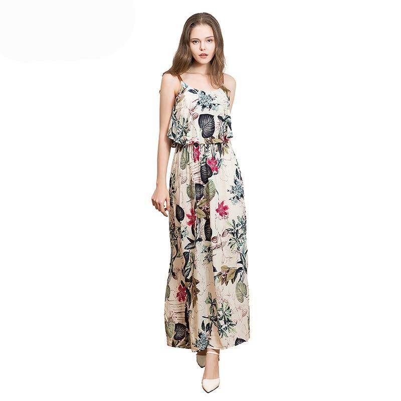 3502150dec8 Maxi Sleeveless Flower Print O-Neck Cotton Dress