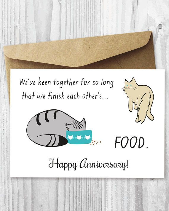 Happy Anniversary Card Printable Funny by MiumiCatPrintables Cat - free printable anniversary cards
