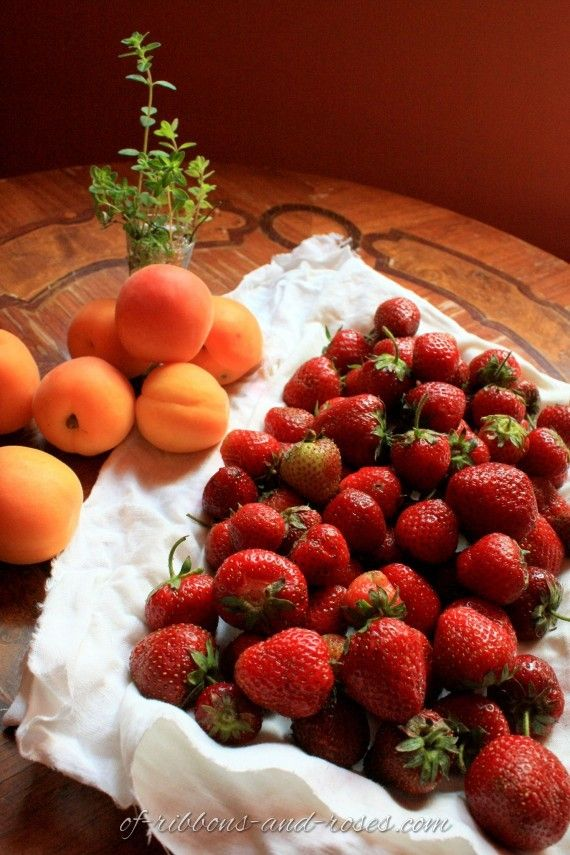 apricots, strawberries and wild thyme