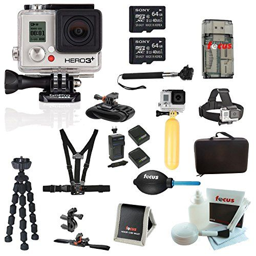 GoPro HERO3+ Silver Edition Camera + Two Sony 64GB MicroSDHC Card + Tripod + Hard Shell Action Camera Case + Deluxe Accessory Kit