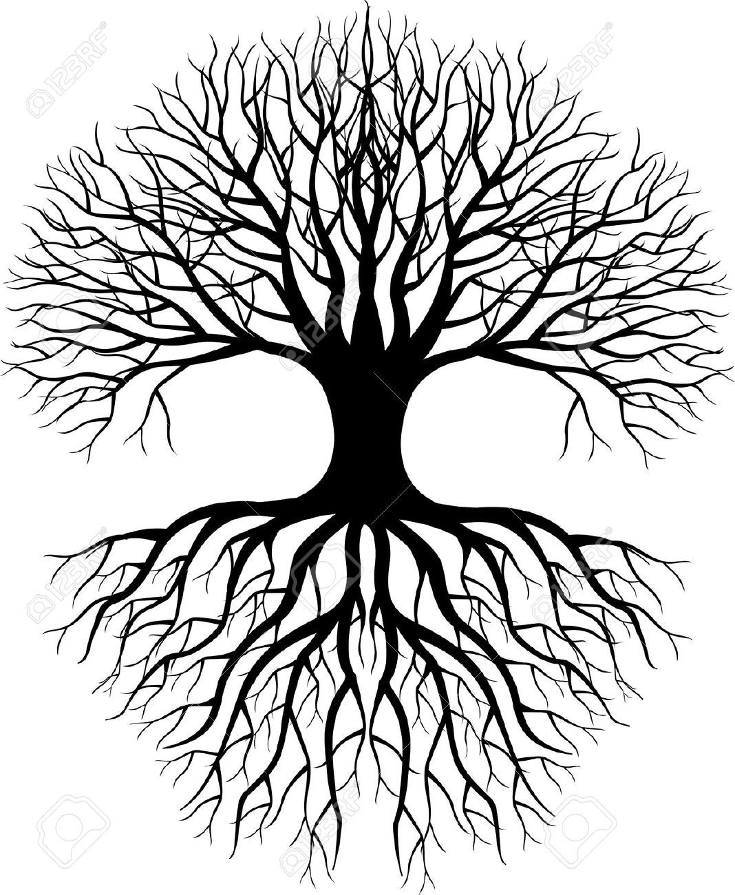 Tree Silhouette Royalty Free Cliparts Vectors And Stock Tree Silhouette Tree Of Life Tattoo Roots Drawing