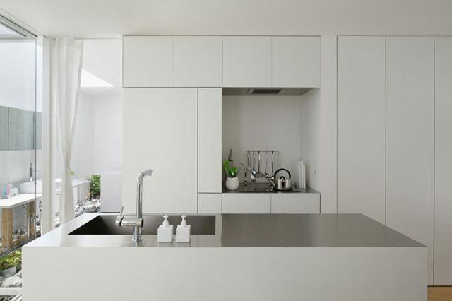 Moderne Einbauküche Kochinsel Grifflose Türen Arbeitstheke Wasserspüle