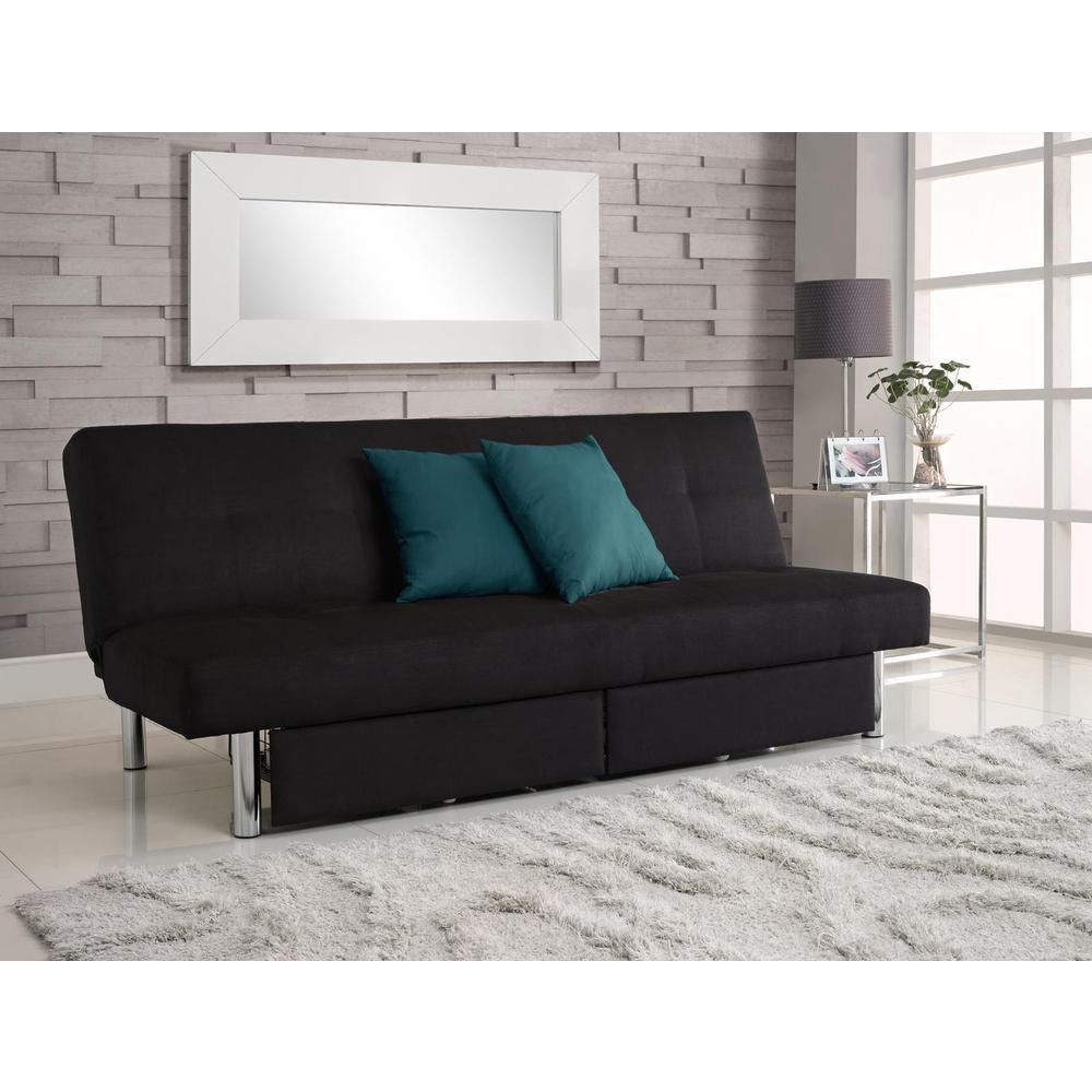 DHP Black Sola Sleeper and Storage Futon | Products | Futon ...