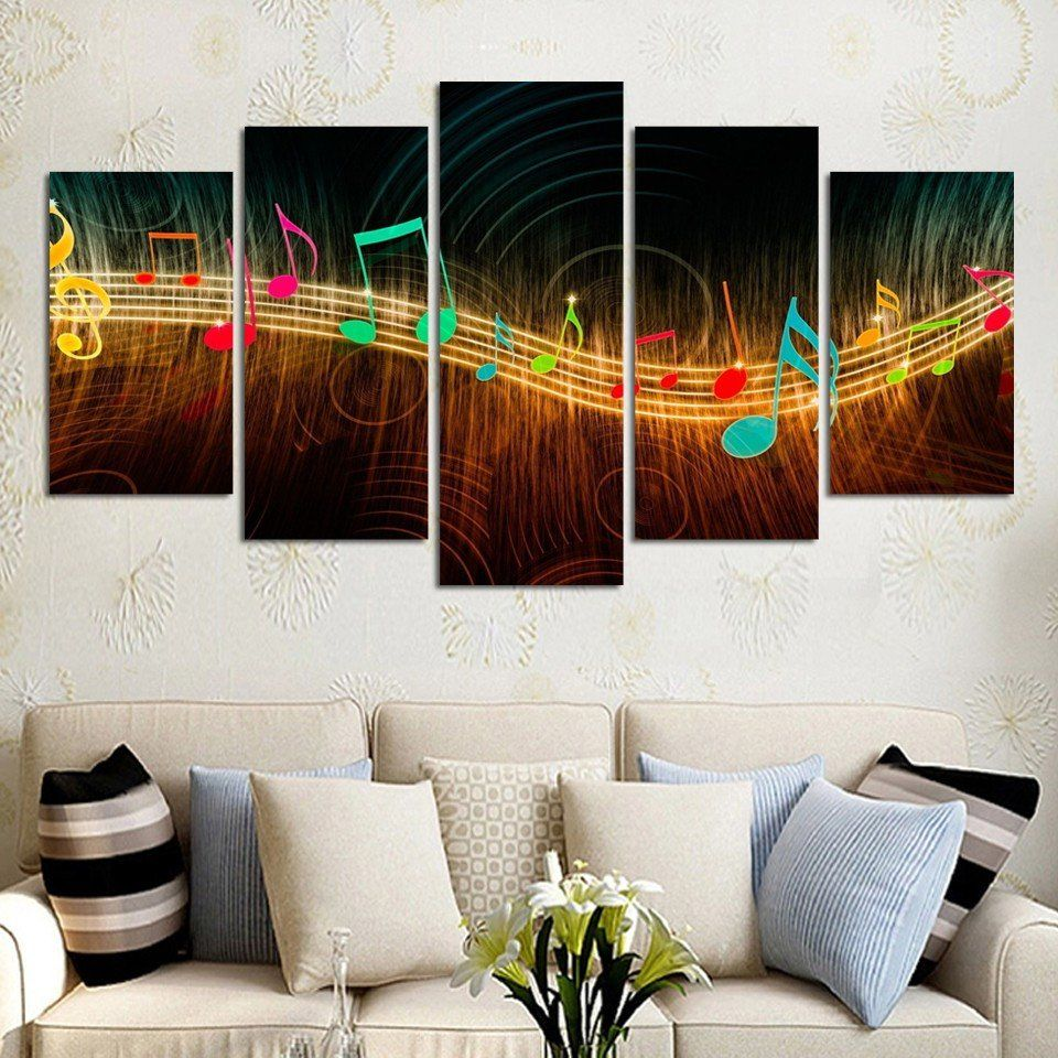 Paintings For Living Room Wall 5pcs Abstract Canvas Painting Music Notation Canvas Modern Home