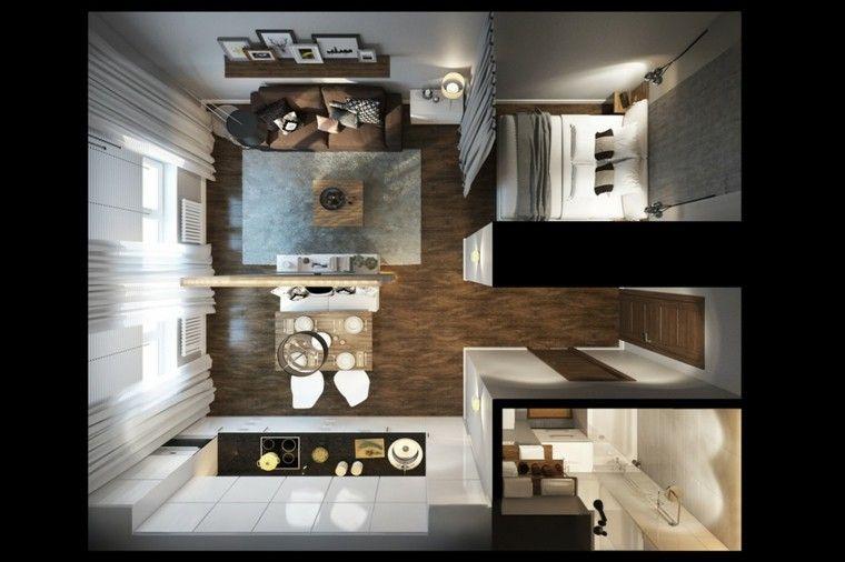 Estudios planos vista arriba parquet interiores for Disenos de apartamentos modernos pequenos