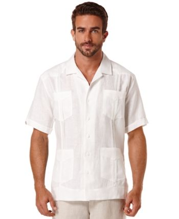 Cubavera Short Sleeve 4 Pocket 100 Linen Guayabera Shirt Reviews Casual Button Down Shirts Men Macy S Guayabera Shirt Guayabera Linen Casual