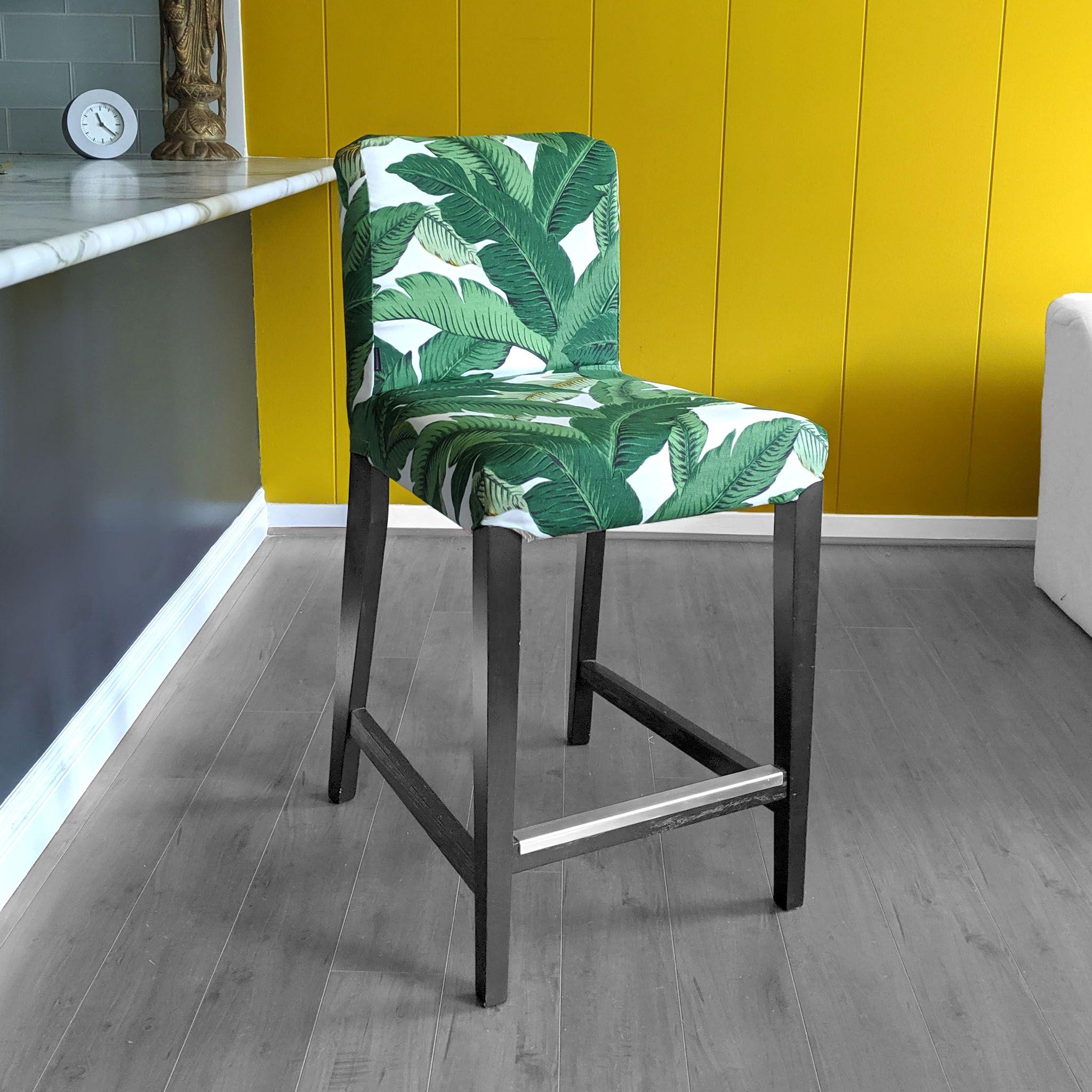 Ikea Henriksdal Barstool Cover Green Banana Leaf Jungle Print