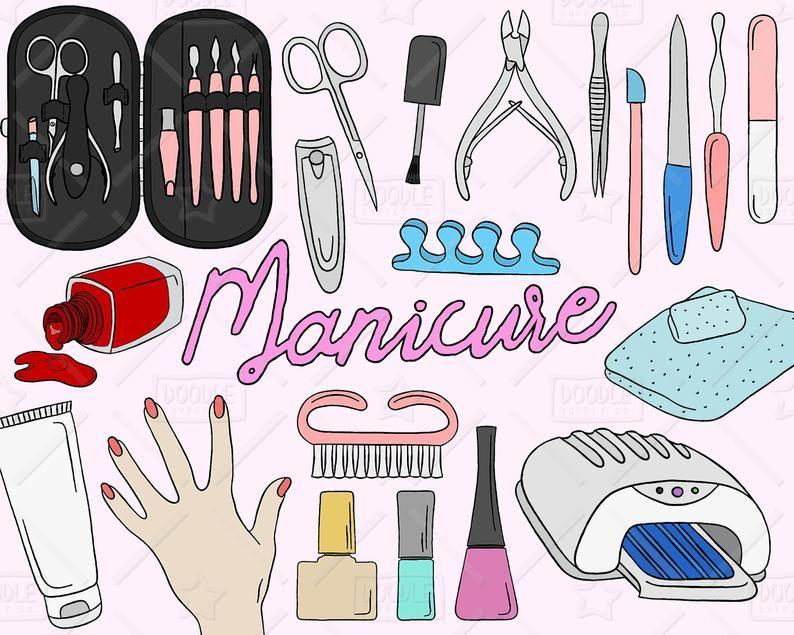Manicure Clipart Vector Pack, Manicure Doodles, Beauty