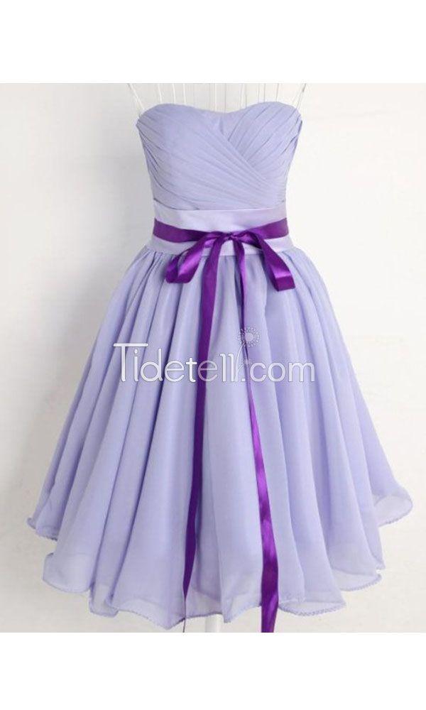New A-line Strapless Knee Length Chiffon Homecoming Dress | Estilo y ...