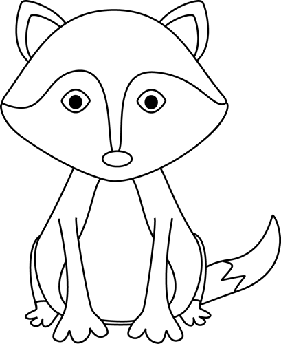 Fox black and white. Preschool fun clipart images