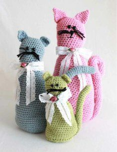 Fancy Felines Crochet Pattern http://www.maggiescrochet.com/fancy-felines-crochet-pattern-p-897.html #cats #amigurumi #pattern #crochet