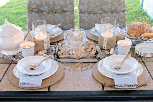 tablescape beachy nauticall outdoor, outdoor living