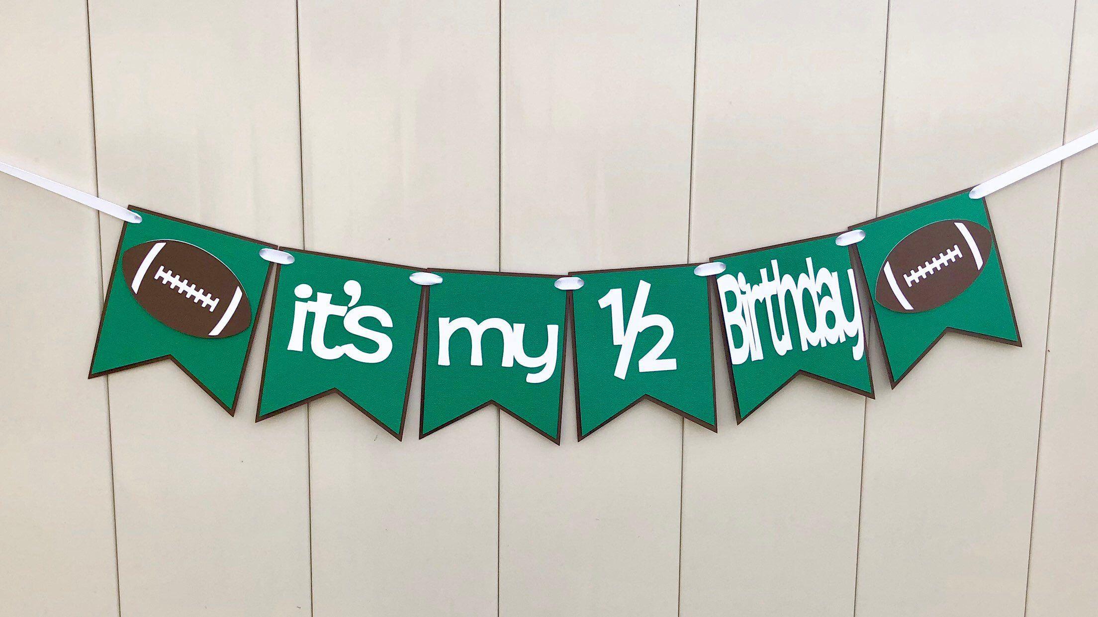 My Etsy Shop Football 1 2 Birthday Banner Its Half Boy Decorations Photo Prop Ready To Ship