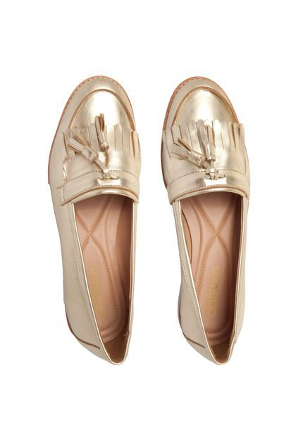 dfbc98e0a Mocassim DAFITI SHOES Franja Dourado | Walking in my shoes | Sapatos ...