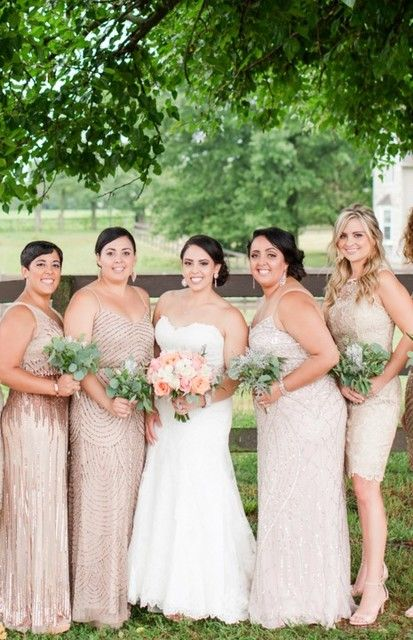 Bridal Party In Gold And Champagne Bridesmaid Dresses By Adrianna Papell Bridesmaid Dresses Champagne Gold Bridesmaid Dresses Gold Bridesmaid Dresses