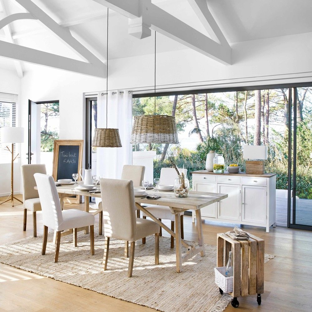 Mesa de comedor de pino blanqueado L. 240 cm | Maisons du Monde ...
