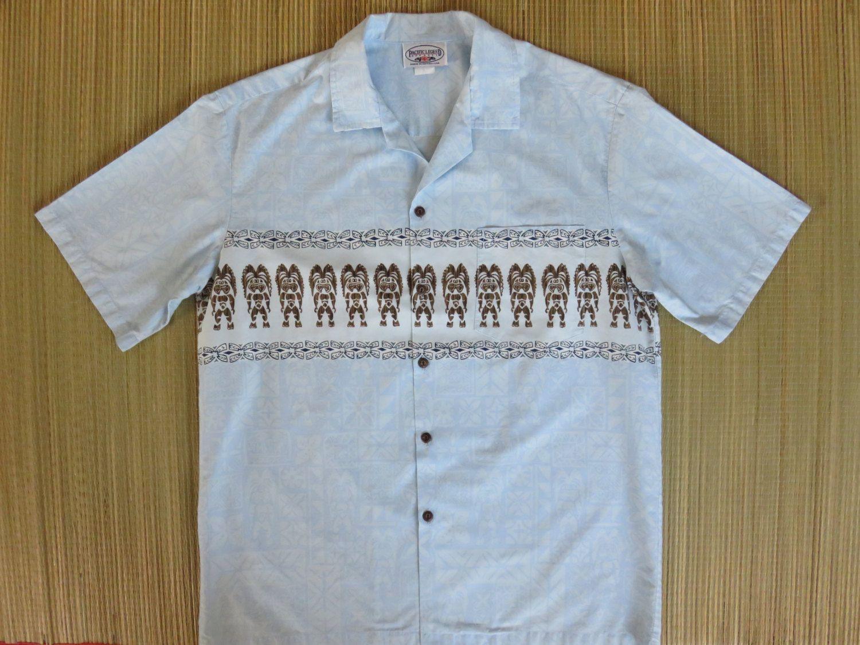 Tiki Hawaiian Shirt PACIFIC LEGEND Mens Vintage 80s Aloha Shirt Surfer Tribal Gods 100% Cotton Camp - L - Oahu Lew's Shirt Shack by OahuLewsShirtShack on Etsy