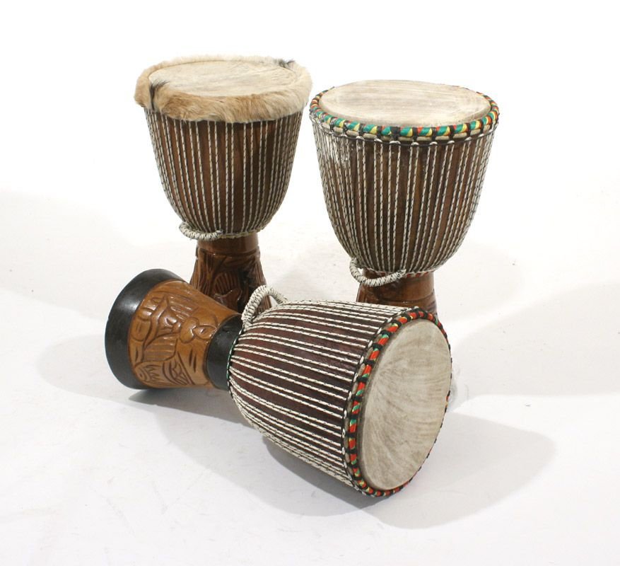 A djembe is a rope-tuned skin-covered goblet drum played with bare hands, originally from West Africa.