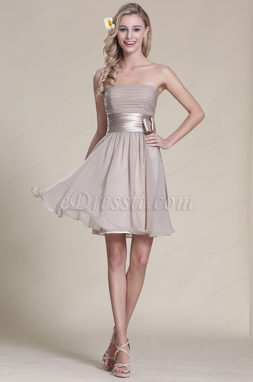 Trägerlos Grau Party Kleid Brautjungfern Kleid (07152108) | hochzeit ...
