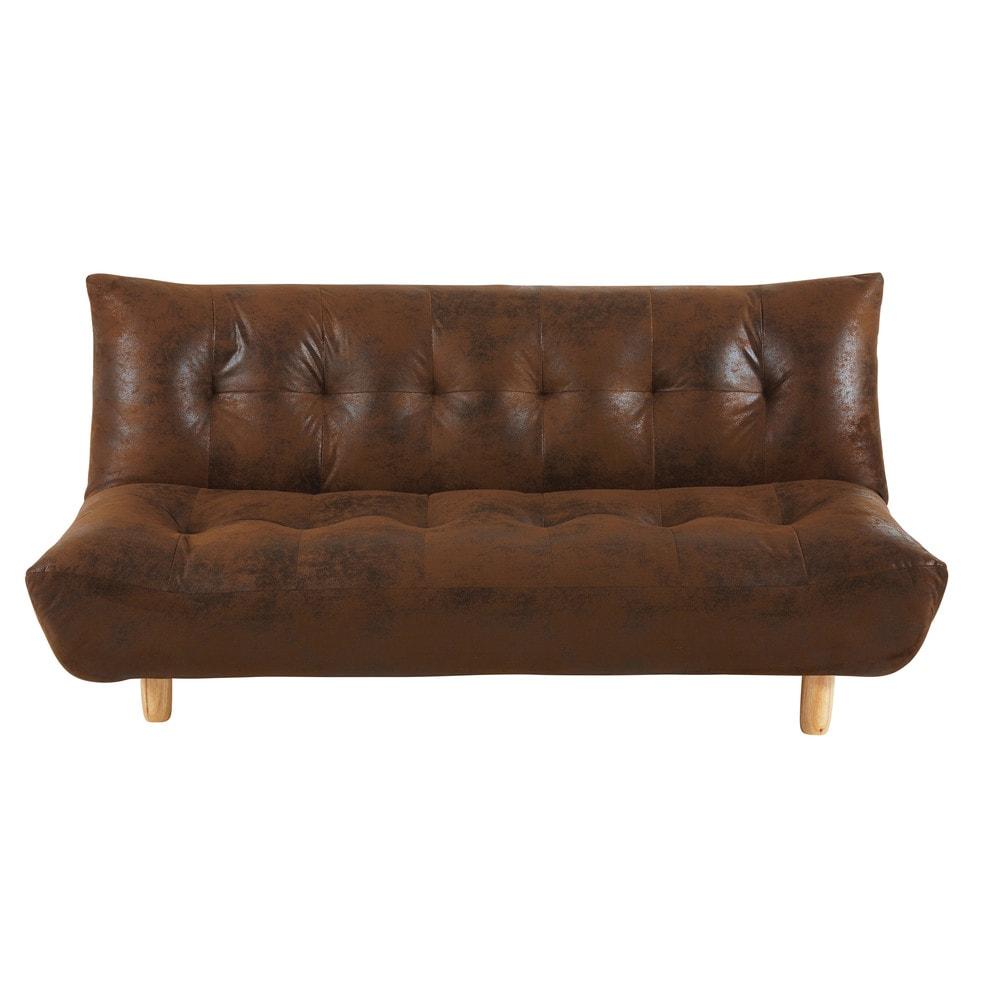 Canape Clic Clac Capitonne 3 Places En Microsuede Marron Sofa