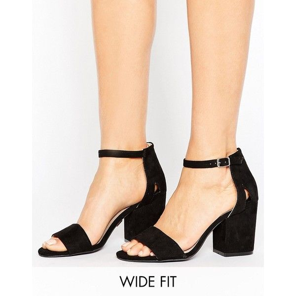 Lost Ink Wide Fit Block Heeled Sandals