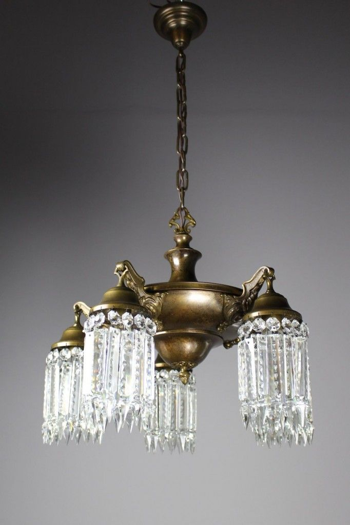 A Circa 1920 Edwardian Pan Light A Hearty Body Finished In Olive Bronze And Decorated In Notched Crystal This Lig Light Dining Room Chandelier Ceiling Lights