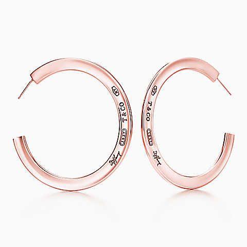 Tiffany 1837 Hoop Earrings In Rubedo Metal Large
