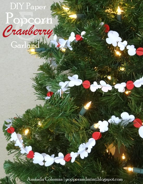 popper mimi paper crafts diy paper popcorn and cranberry garland diy christmas tree garland
