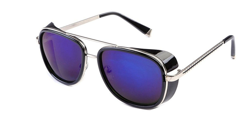 532e83434fb Unisex Cover Side Shield Square Sunglasses - Black Blue ...