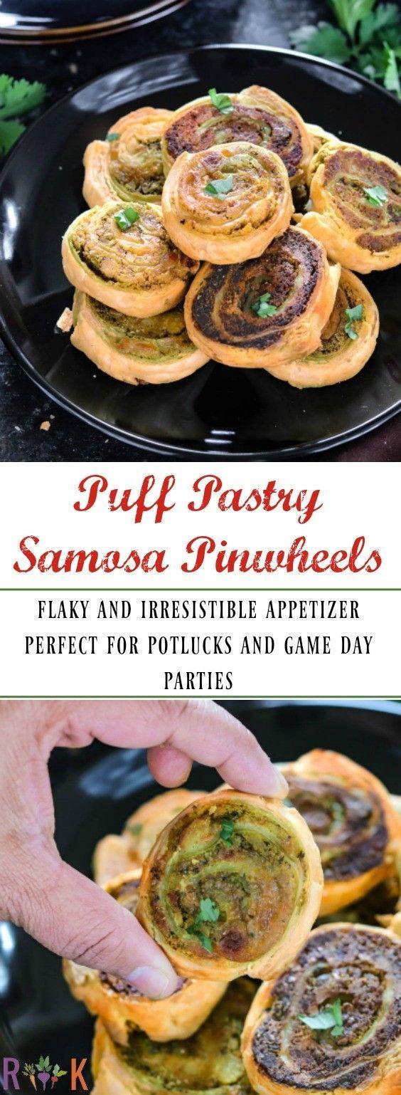 Puff Pastry Samosa Pinwheels (Baked Samosa Pinwheels) - Ruchiskitchen